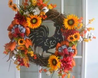 Rooster Wreath - Farmhouse Wreath - Fall Wreath - Sunflower Wreath - Door Wreath - Country Wreath - Floral Wreath - Grapevine Wreath