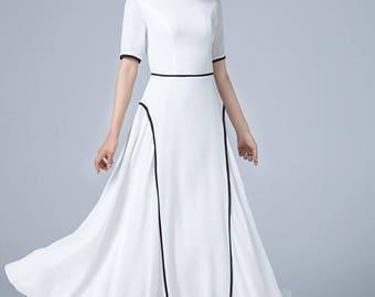 white dress, chiffon dress, fit and flare dress, swing dress, wedding dress, prom dress, elegant dress, maxi dress, womens dress 1779