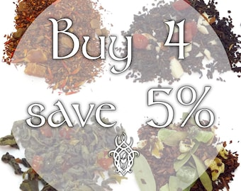 Buy 4 Teas, Save 5% - loose leaf tea, discount tea, tea gift