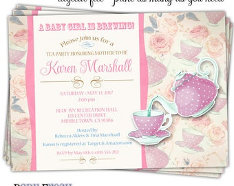 Teaparty Baby Shower Invitation • Baby Shower Teaparty Invitation • Tea Cup Invitation • Tea Party Invitation • Baby Shower Tea Cup Invite