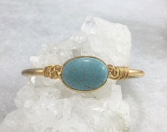 Dyed Howlite Wire Wrap Cuff Bracelet | Imitation Turquoise | Brass | Brass Wire | Adjustable | Natural Stone