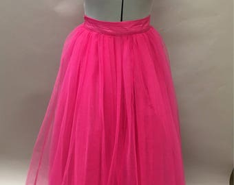 Hot Pink Tulle Maxi Skirt Full/Floor Length Made to Measure fuchsia