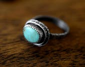 Turquoise and Silver Ring - Tree Bark Band - Size 8 - Woodland Ring - Kingman Turquoise - One of a Kind -