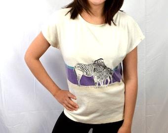 Vintage 80s Zebra Summer Top Shirt