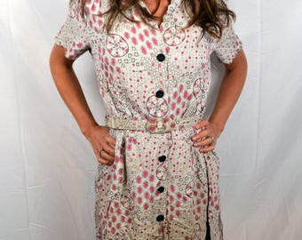 Amazing Novelty Vintage 1940s 40s Rayon Dress