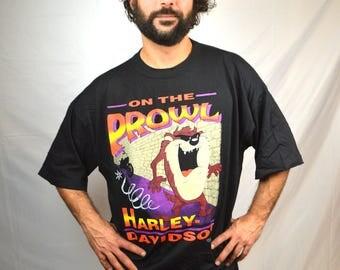 Vintage 90s 1992 Taz Looney Tunes Harley Davidson Tee Shirt Tshirt