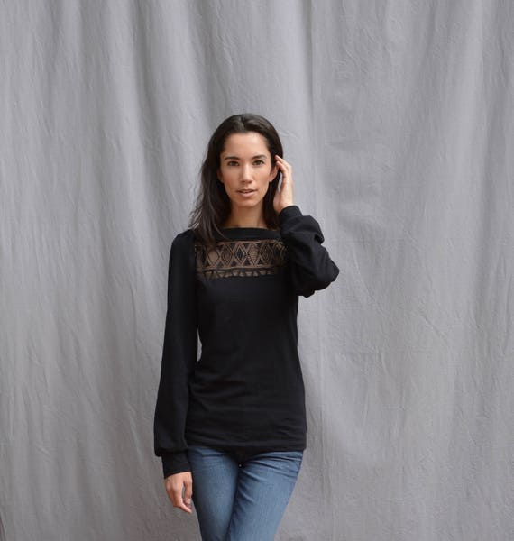 Women's Black Top, Cotton Jersey, Long Sleeve, Lace Detail, Geometric, Puff Sleeve- Made to order