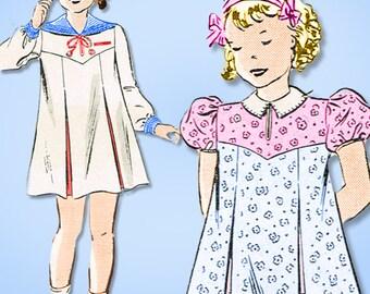 1930s Vintage Butterick Sewing Pattern 7064 Toddler Girls Sailor Dress Size 4