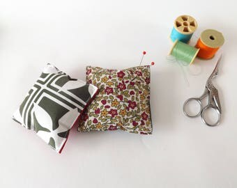 Recycled Fabric Swatch, Scrap and Offcut Pin Cushion with Eco Friendly Wadding, Tiled or Floral Prints