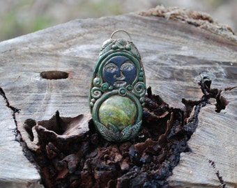 Earth Goddess Nature Pendant with Unakite Gemstone - Healing - Mother - Gaia - Gypsy