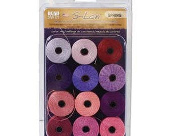 Spring Collection Of Tex 210 S-Lon Beading Cord, 12 Spools of Tex 210 Beading Cord