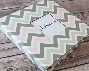 Baby Book, Baby Gift, Baby Album, Baby Memory Book, Baby Keepsake, Modern Baby Book, Pink/Grey Chevron