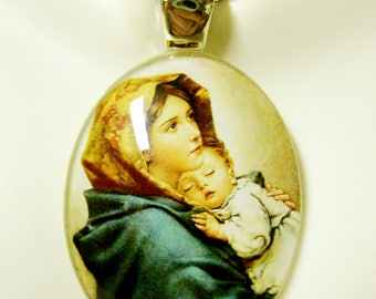 Madonna of the streets glass pendant with chain - GP18-101