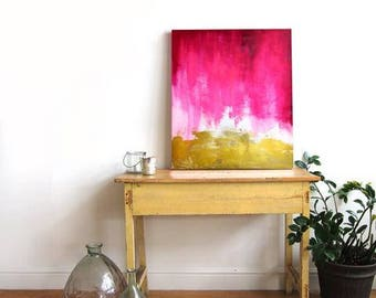 Pink and Gold Abstract Canvas Print - Large Wall Art - Bright Home Decor - Watercolor - Art Painting - Living Room Decor - Gallery Wall