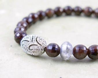 January Birthstone Garnet Bracelet Garnet Gift for Her Beaded Bracelet Pave Bracelet Red Garnet Jewelry