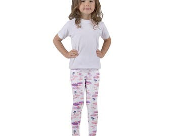 Flying Flamingos and pink purple clouds..Kid's leggings pants play clothes