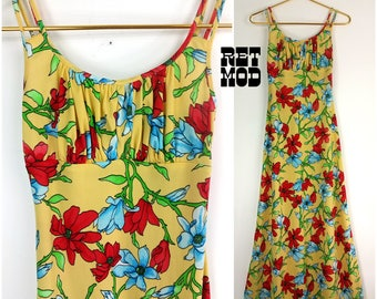 Super Cool Vintage 70s Yellow, Red, Blue Floral Summer Maxi Dress