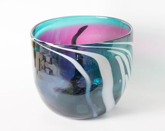Handblown magenta and blue bowl