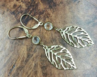 Gold Tone Leaf and Crystal Earrings