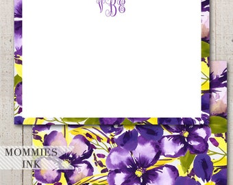 Personalized Notecard, Monogram Note Card, Personalized Stationery, Personalized Thank You Note, Purple and Yellow, Item: VioletWTY