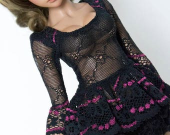 Black and pink lace peplum top for slim Mini Super Dollfie MNF Minifee Luts Fairyland MSD