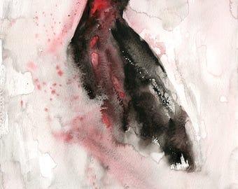 Crow Original watercolor painting 11x14inch