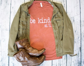 Be Kind Fall Colors layering tee.  great gift col 3:12 spread kindness no hate only love shirt.  statement top