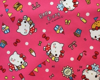 Hello Kitty Fabric, Japanese Cotton Print / Pink Oxford Fabric, 1 Yard, Kawaii Sanrio Character Fabric, Hello Kitty & Food / Sweets, jf11