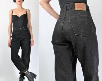 Vintage Levis 501 Black Jeans Womens Boyfriend Jeans Denim Tapered Leg Jeans High Waisted Jeans Levi Strauss Grunge Mom Jeans 30 (L) E8061