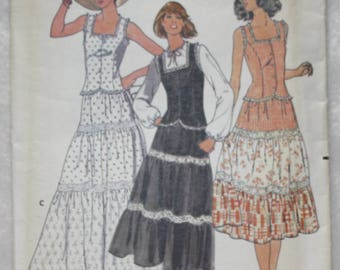 "Sz 10 Bust 32.5""  Vintage  Butterick  Sewing Pattern 6053 Tiered Peasant Skirt and Princess Seamed Top"