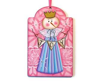 Snow Lady JOY Tag. Handpainted Wood, Hand Painted Christmas Decor, Snowman Ornament, Wall Art, Peg Hanger, Tole Decorative Painting
