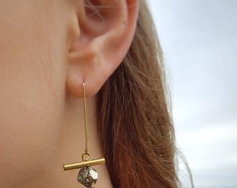 Gold Threader Earrings Pyrite Earrings Geometric Earrings Modern Earrings Long Earrings Gold and Silver Earrings Mixed Metal Earrings Dynamo