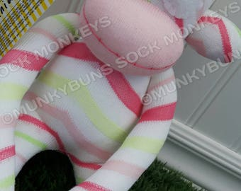 CLEARANCE - Pink and Green Chevron Sock Monkey Doll - optional Name Embroidered
