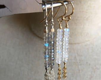 Labradorite and or Rainbow Moonstone Tassel Earrings, Gemstone Chain Tassel Earrings, Gold Filled Dangle Earrings, Sterling Silver Jewelry