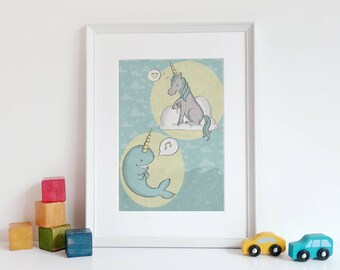 Unicorn and Narwhal, do what you love, animals, blue & yellow, illustration, wall art, top best selling gift under 30, art print, nursery