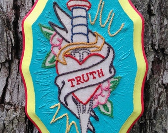 Truth - Hand Embroidery on Wood