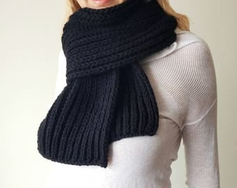 Black Knitted Scarf soft thick warm wool Male/Female - choose a color