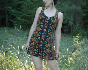 Romper / Onesie / Mini / 80s / 90s / Tribal Print / Lace Up Back / Rayon