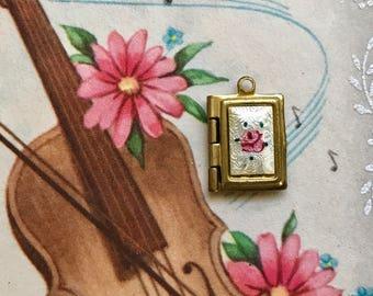 Vintage Guilloche Locket, Book Locket, Enamel Locket, Bible Locket, Little Girl Locket, Brass Locket, Rose Locket, vintagerosefindings,#G18K