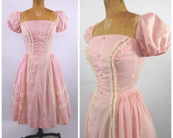 1950s Pink Gingham Cotton Dress - Puffed Sleeves Square Neck Full Skirt Nipped Waist Lace - Fit and Flare Princess - By GidGit California