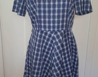 Vintage 1960s Blue Black White Plaid Dress