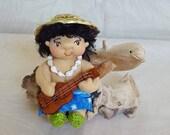 """Hawaiian OOAK 4"""" Art Doll: Waipi'o"""