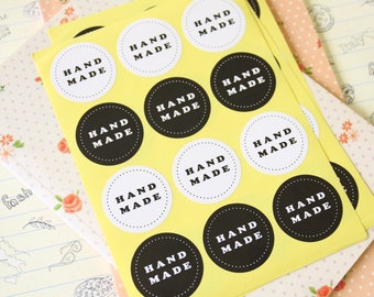 round Handmade Black & White sticker labels