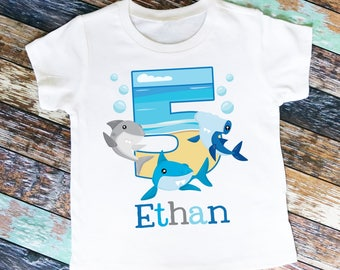 Sharks Birthday Shirt or Bodysuit - Personalized with ANY name and age!