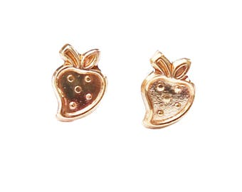 Strawberry Earrings, studs, posts, fruit, food, berry, gold, tiny, minimal, gift under 20, jewelry under 20, vegetable, produce, garden