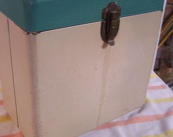 Mid Century Turquoise/Beige Metal File Box, Record Storage Box, Storage Case, File Cabinet, Office Box, Metal File Box,