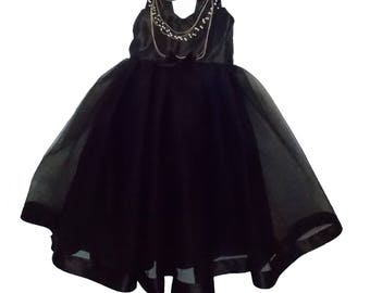 Audrey Hepburn Dress: all black tutu dress, Birthday Party, Halloween, Twirly dress, costume, sophisticated dress, special occasion