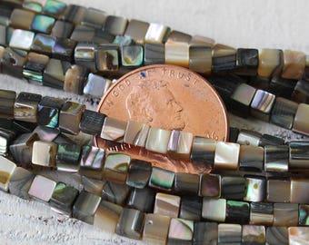 Abalone Cube Beads - Jewelry Making Supply - 3mm Cube Beads - Abalone Cube - Shell Beads