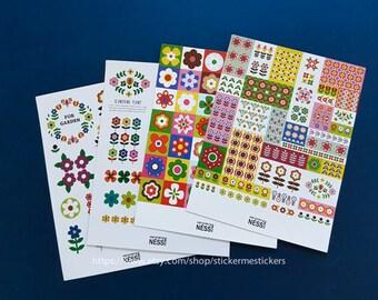 4 SHEETS, Scandinavian sticker set, Floral stickers, Floral labels, Flower stickers, Deco sticker, Diary sticker, Bullet Journal