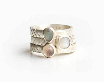 Brushed Sterling Silver Gemstone Stacking Rings with Chevron Design